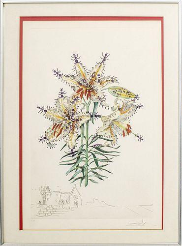 "Salvador Dali ""Surrealist Flowers"" Etching"