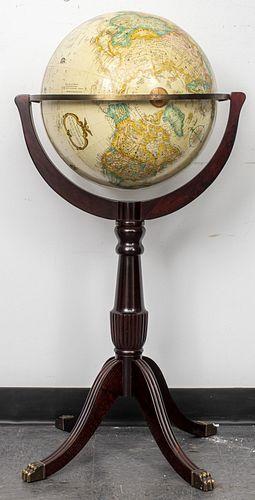 Replogle Floor Globe On Mahogany Stand