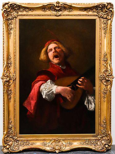 "William John Wainwright ""Lute Player"" 19th C. Oil"