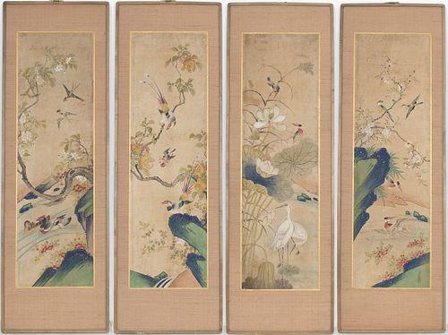 Korean Joseon Painted Silk Framed Panels, 4