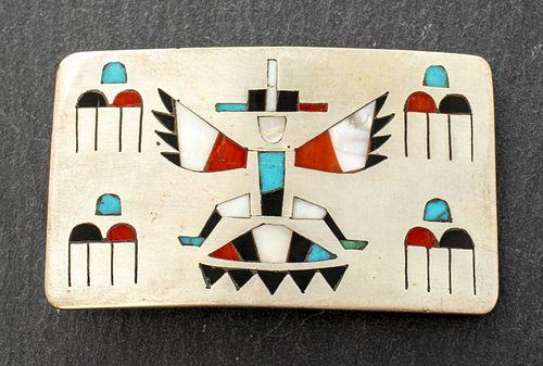 Zuni Native American Silver Stone Belt Buckle