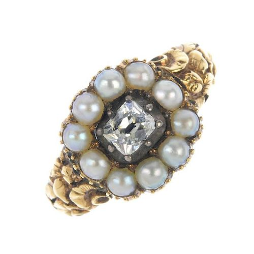 A mid 19th century 15ct gold diamond and split pearl memorial ring. The old-cut diamond, within a sp