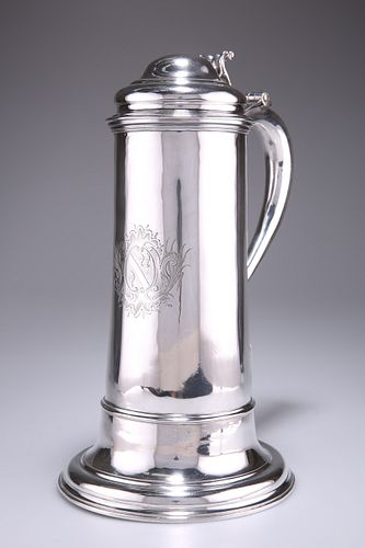 A LARGE GEORGE II SILVER FLAGON,by Thomas Whipham,London
