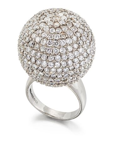 A PALLADIUM DIAMOND DRESS RING, a large sphere pavé-set wit