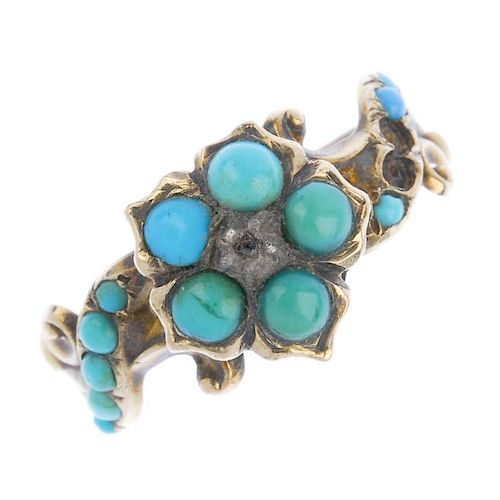 A mid Victorian 9ct gold turquoise and diamond forget-me-not ring. The circular turquoise cabochon f