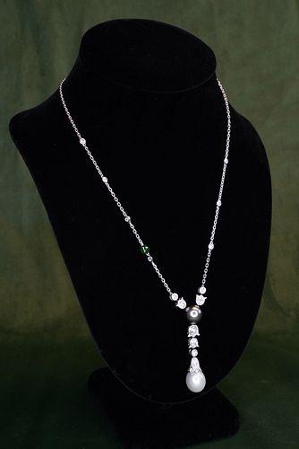 CARTIER 18k Diamond Pearl Calin Necklace