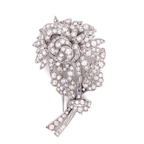 Platinum Diamond Art Deco Flower Broach