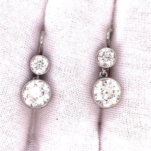 Platinum Diamond Dangling Earrings