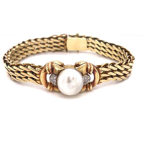 Art Nouveau 14K Natural Pearl Diamond Bracelet