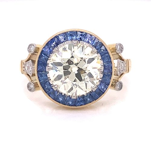 Platinum Gold Diamond Sapphire Ring