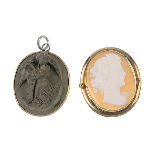 A cameo and lava carved pendant. The lava pendant carved in relief in the form of a winged angel wit
