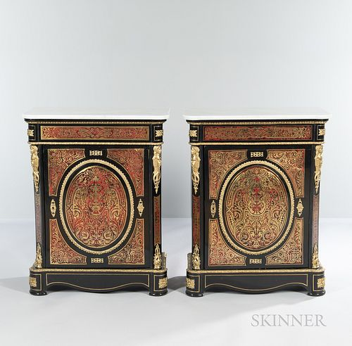 Pair of Marble-top Boulle Commodes