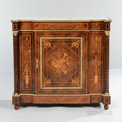Louis XVI-style Marble-top, Ormolu-mounted, and Inlaid Console