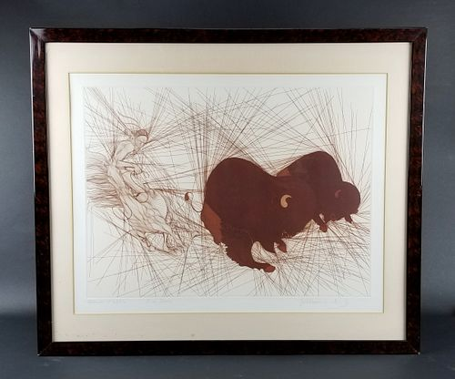 """Guillame Azoulay Etching """"Deux Bisons"""" Signed, Circa"""