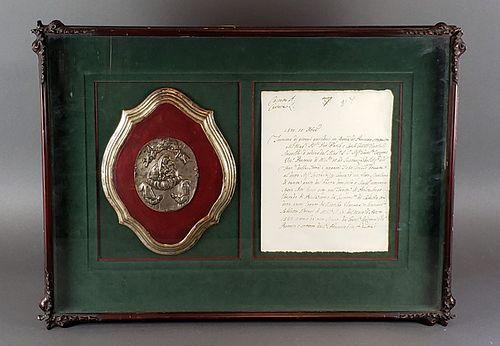 Antique Framed 16th C. Commerative Plaque & Document C.
