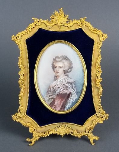 Fine 19th C. Bronze Frame with Handpainted Insert