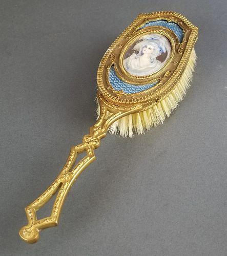 19th C. French Bronze & Enamel Salon Brush
