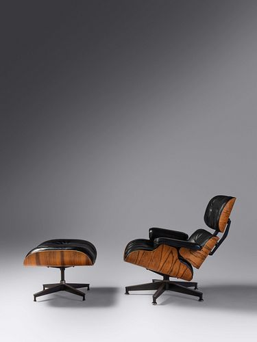 Charles and Ray Eames (American, 1907-1978   American, 1912-1988) Lounge Chair and Ottoman, model 670 and model 671