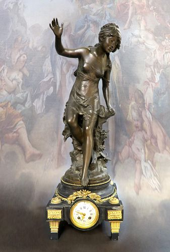 Monumental French Bronze Figural Clock by Moreau