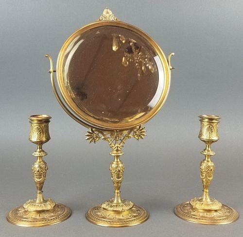 F. Barbedienne 3 Pc. Bronze Vanity Set