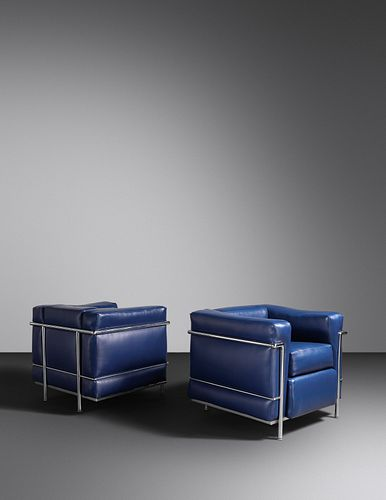 Charlotte Perriand, Pierre Jeanneret and Le Corbusier (French, 1903-1999   Swiss, 1896-1967   French/Swiss, 1887-1965) Pair of LC2 Lounge Chairs