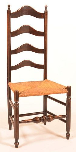 18th Century Rush Seat Ladder Back Side Chair.