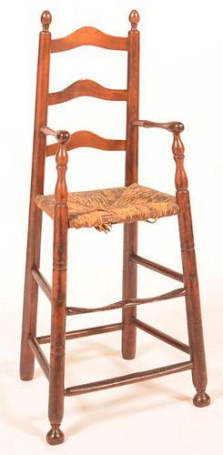 18th Century Ladder Back High Chair.