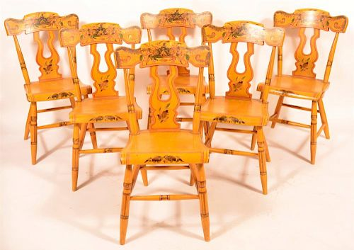 Set of 6 Pennsylvania  Boldly Painted Side Chairs.