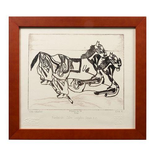 ERICK ALCÁNTARA. Dos caballos. Litografía. Firmada. Con sello de Escuela Mexicana de Arte Down y Fundación John Langdon Down A.C.