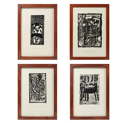 VARIOS ARTISTAS. Lote de 4 grabados en linóleo. Firmados. Con sello de Escuela Mexicana de Arte Down y Fundación John Langdon Down