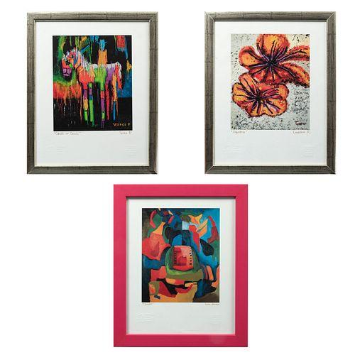 VARIOS ARTISTAS. Lote de 3 Giclée. Firmados. Con sello de Escuela Mexicana de Arte Down y Fundación John Langdon Down A.C.