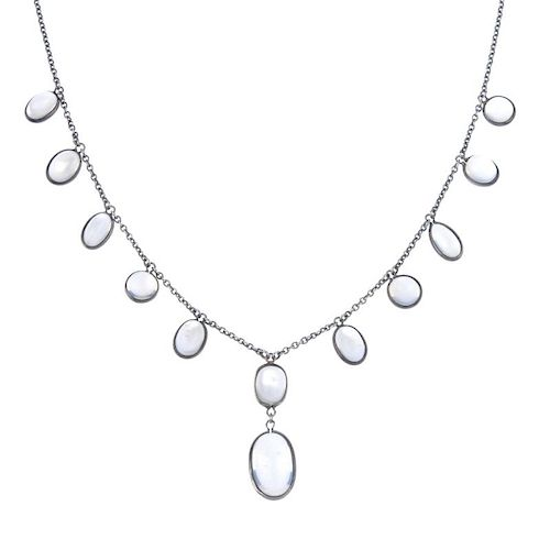 A selection of jewellery. To include a circular and oval moonstone cabochon fringe necklace and furt