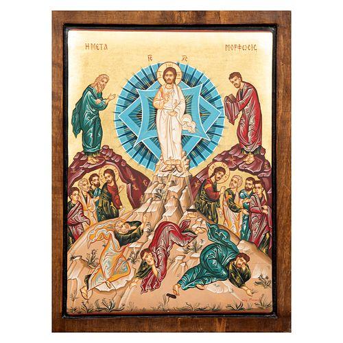 ANÓNIMO. SXX. Resurrección de Cristo. Óleo sobre madera. Con hoja de oro. 44 x 34 cm.