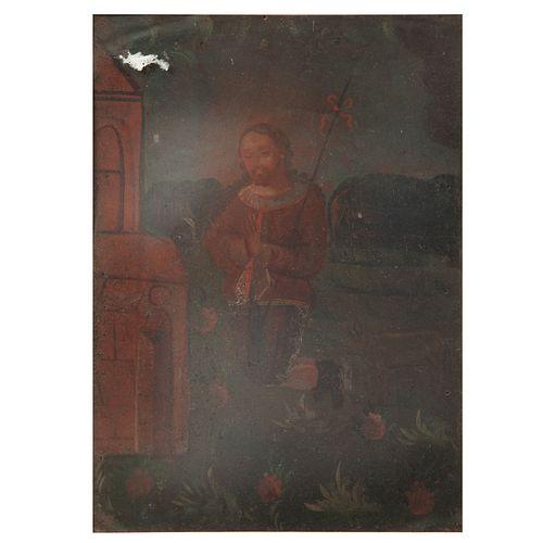 ANÓNIMO. San Lucas Evangelista. Óleo sobre lámina. Enmarcado. 34 x 25 cm
