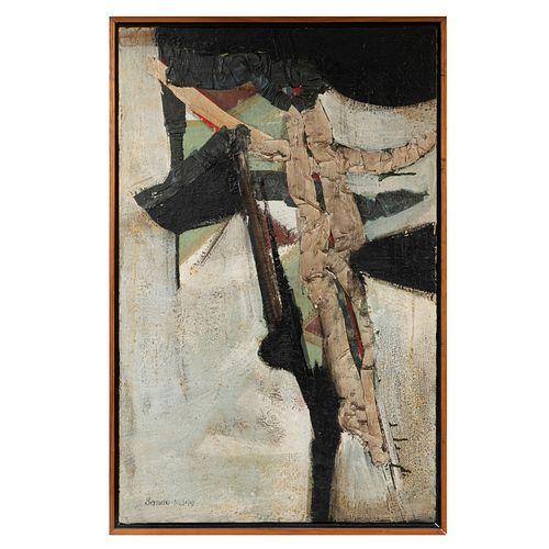 SANDO BERGER. Cross. Firmada. Mixta sobre tela. 98 x 62 cm. Enmarcada.