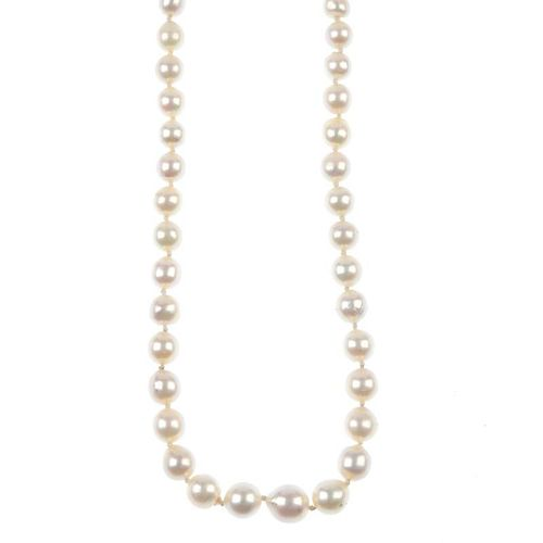 A cultured pearl single-row necklace. The graduated cultured pearls, to the cultured pearl and singl
