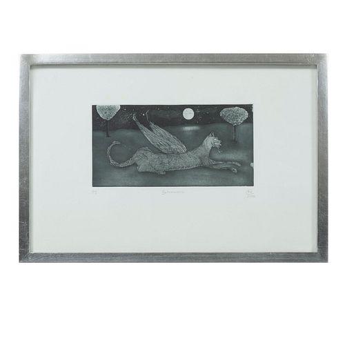 PABLO WEISZ CARRINGTON. Gatomaquia. Firmada y fechada 2006. Grabado P/I. 16 x 29 cm. Detalles de conservación. Enmarcada.