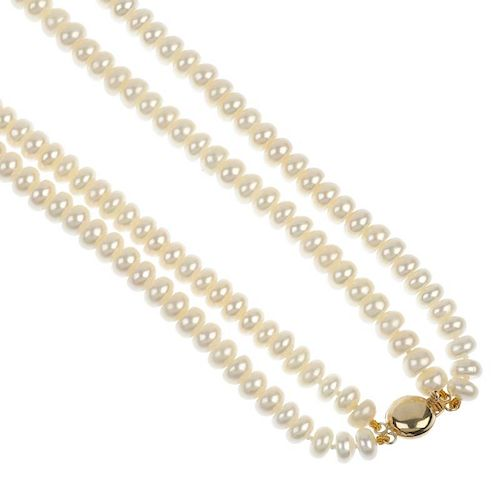 Four freshwater cultured pearl two-row necklaces. Each designed as two strands of bouton-shape fresh