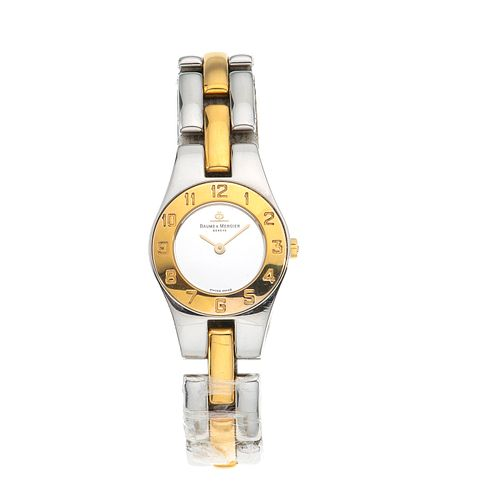 Reloj Baume & Mercier modelo Línea. Movimiento de cuarzo. Caja circular en acero de 23 mm.