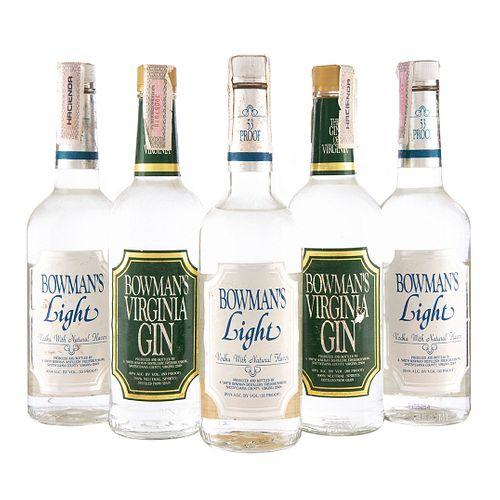 Ginebra y Vodka. a) Bowman's. Virginia. b) Bowman's. Light. Total de piezas: 5.