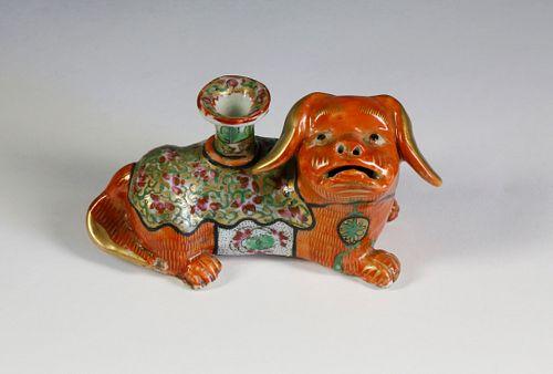 Clobbered Famille Rose Foo-Dog Candlestick, circa 1840