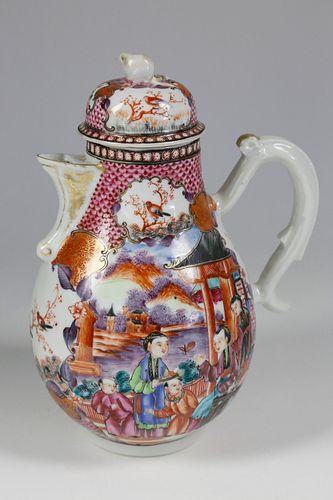 Chinese Export Mandarin Palette Porcelain Coffee Pot, circa 1770