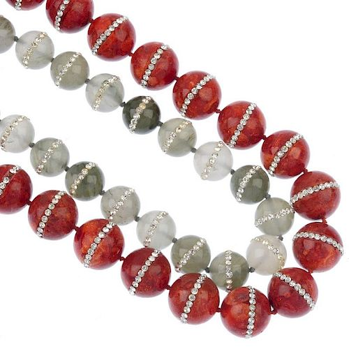 A selection of gemstone jewellery. To include a treated coral and paste necklace designed as a singl