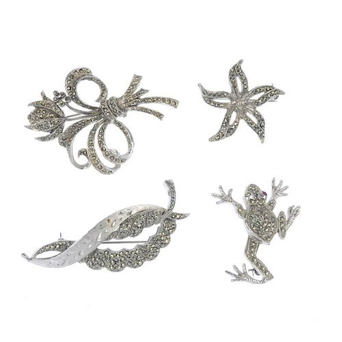 A selection of marcasite jewellery. To include a brooch in the form of a marcasite-set eagle, togeth