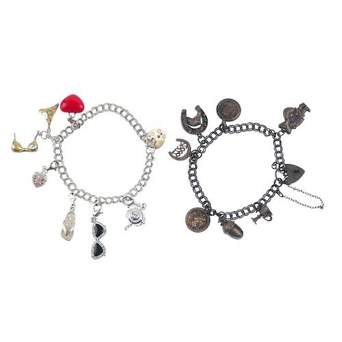 Six charm bracelets. To include a nautical themed charm bracelet and a double curb-link bracelet wit