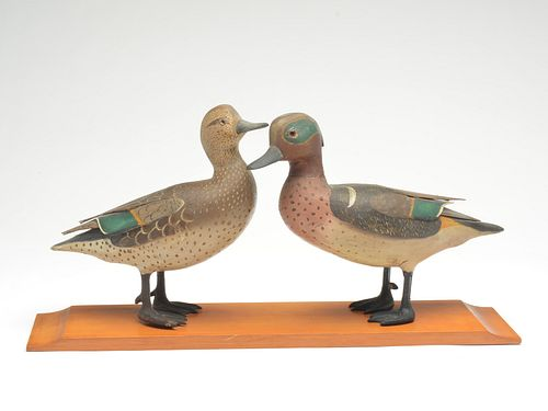 Full size standing greenwing teal pair, Lloyd Sterling, Crisfield, Maryland, 1st quarter 20th century.