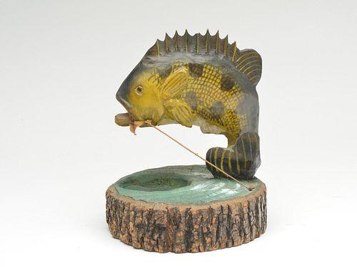 Carved fish on mounted base, John Hyatt, Pekin, Illinois, 2nd half 20th century.