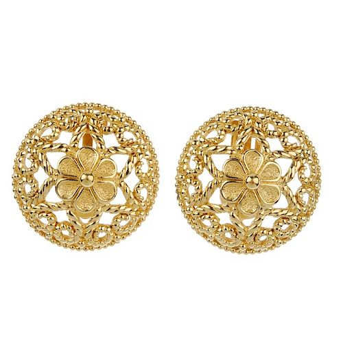 CHRISTIAN DIOR - two pairs of ear-clips. The first designed as a pair of circular-shape openwork pan