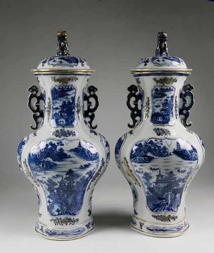 Pair of Chinese Export Porcelain Blue Baluster Vases with Covers, 18th century