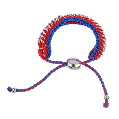 LINKS OF LONDON - a bracelet and a ring. The friendship style bracelet of blue and neon orange cord